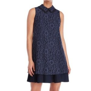 Nanette Lepore Navy Lace Pleated Dress Size 8